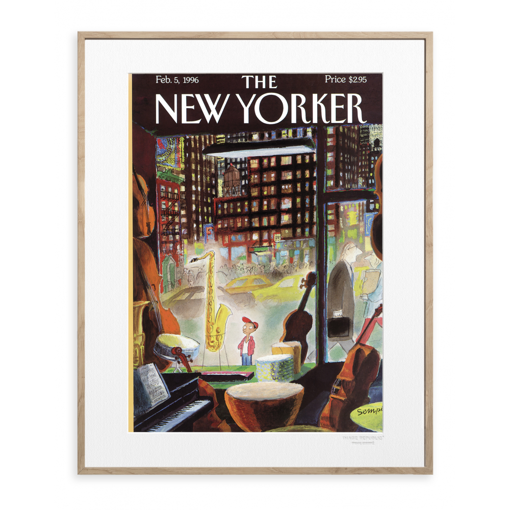 affiche the new yorker 62 sempe the boy saxophone 1996. Black Bedroom Furniture Sets. Home Design Ideas